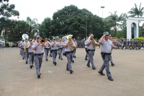 A banda da PM ficou sob a regência do subtenente PM Rogério Prado de Carvalho