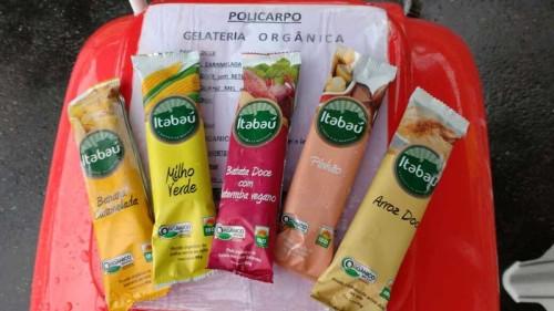 Sorvetes orgânicos da Itabaú na banca Policarpo também são comercializados